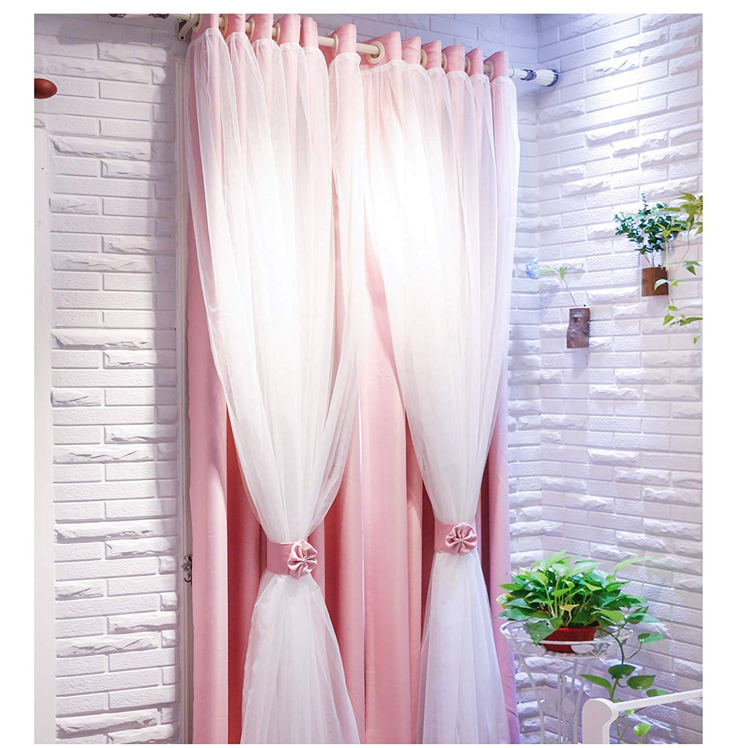Vandesun Dual Layer Grommet Top Mix And Match Blackout Curtains With White Sheer For Living Room And Bedroom – 2 Panels (52x63, Pink) For Current Elrene Aurora Kids Room Darkening Layered Sheer Curtains (View 15 of 20)