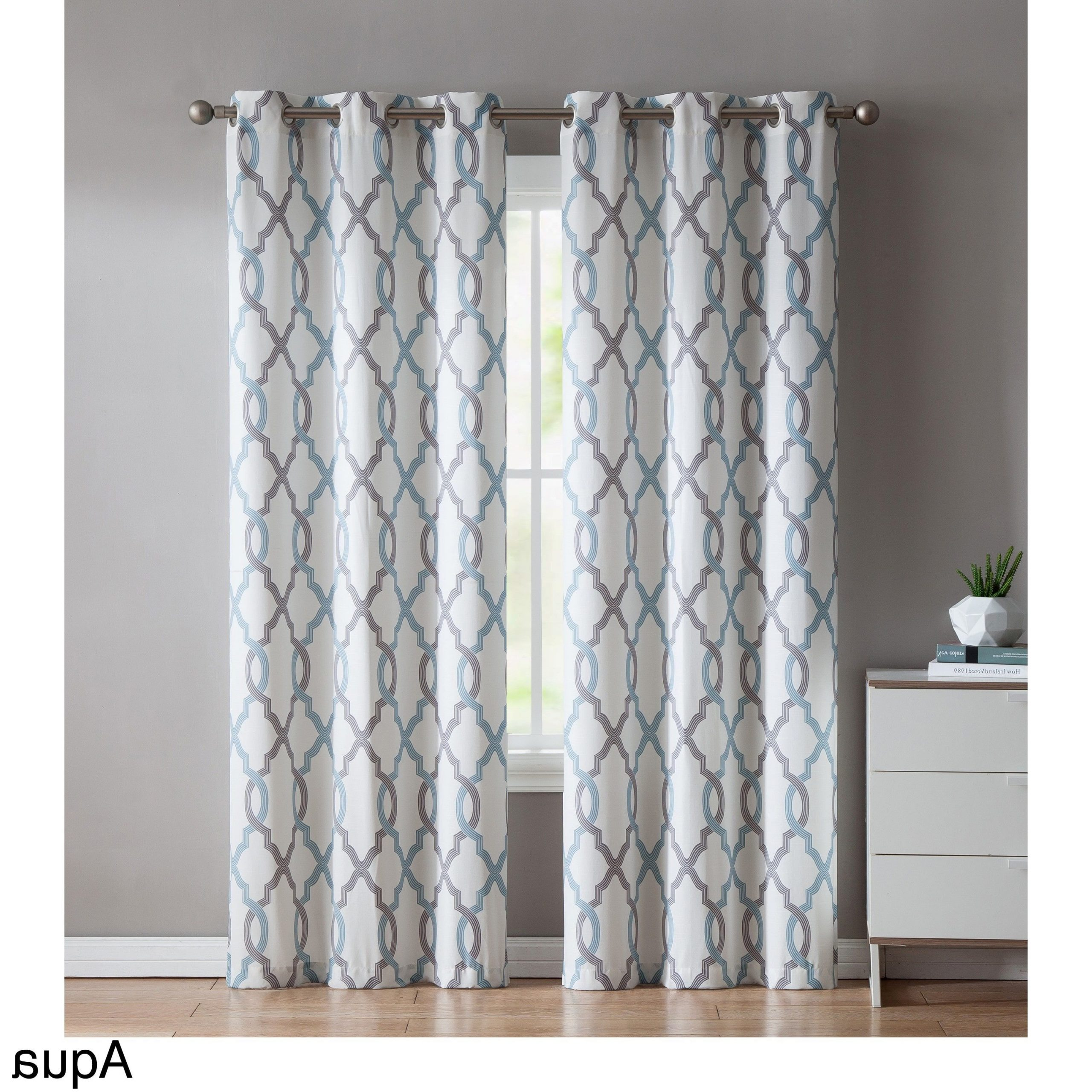 Vcny Home Caldwell Printed Curtain Panel Pair (aqua (blue Pertaining To Best And Newest Essentials Almaden Fretwork Printed Grommet Top Curtain Panel Pairs (View 20 of 20)