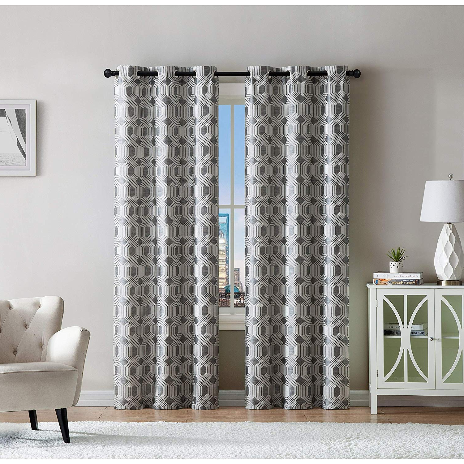 Vcny Home Eli Window Treatment Curtains 76X84, Blue Intended For Well Known Caldwell Curtain Panel Pairs (View 17 of 20)