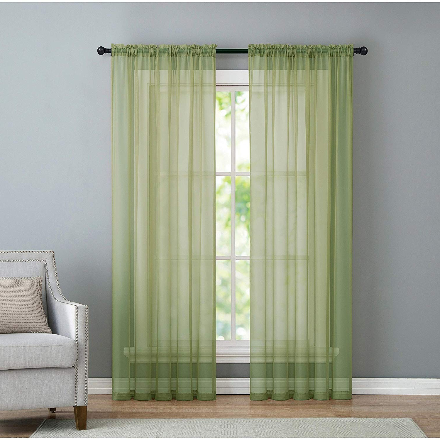 Vcny Home Infinity Rod Pocket Sheer Window Curtains Panel Pair 104x108 Sage With Well Known Infinity Sheer Rod Pocket Curtain Panels (View 20 of 20)