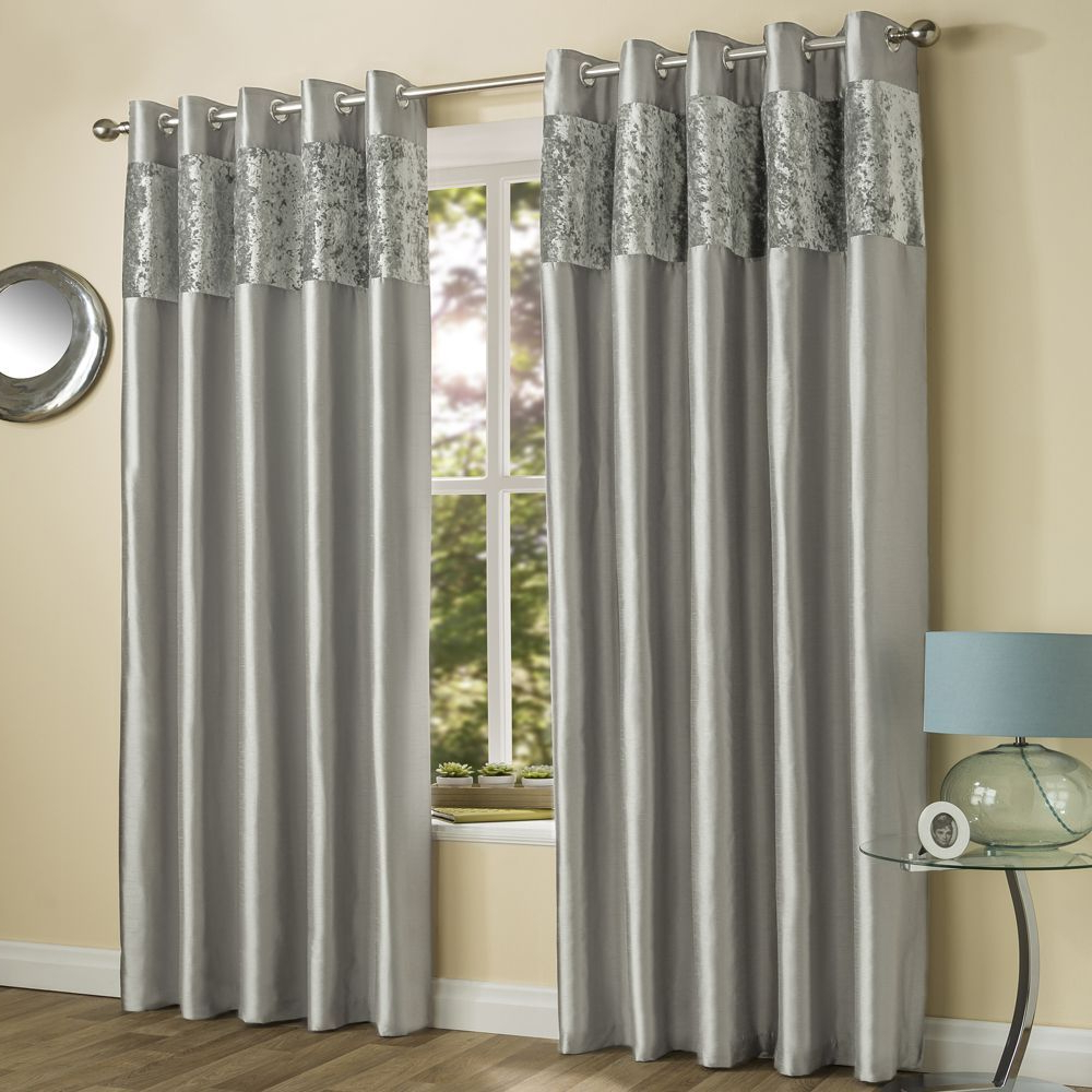 Velvet Dream Silver Curtain Panel Pairs Within Popular Amalfi Crushed Velvet Fully Lined Ring Top Curtains – Silver (View 12 of 20)
