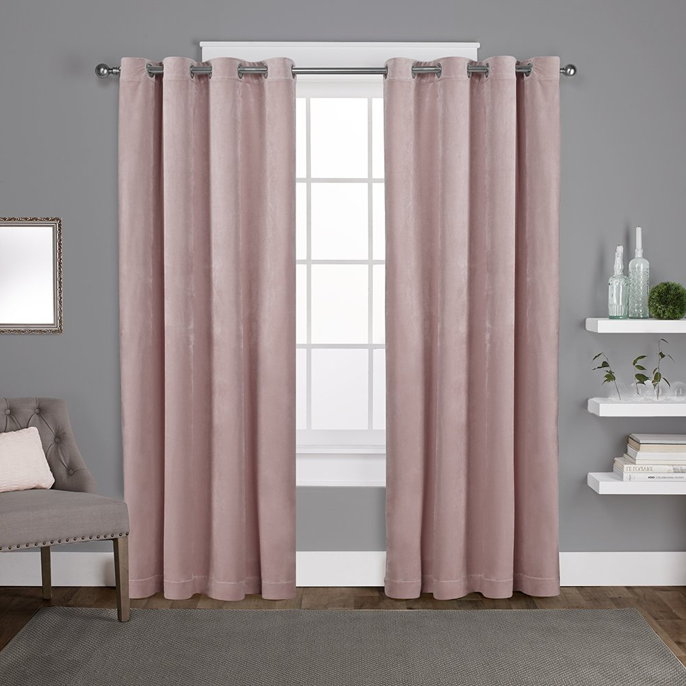 Velvet Heavyweight Grommet Top Curtain Panel Pairs For Most Current Exclusive Home Curtains Velvet Heavyweight Window Curtain Panel Pair With Grommet Top, 54x96, Blush, 2 Piece (View 9 of 20)