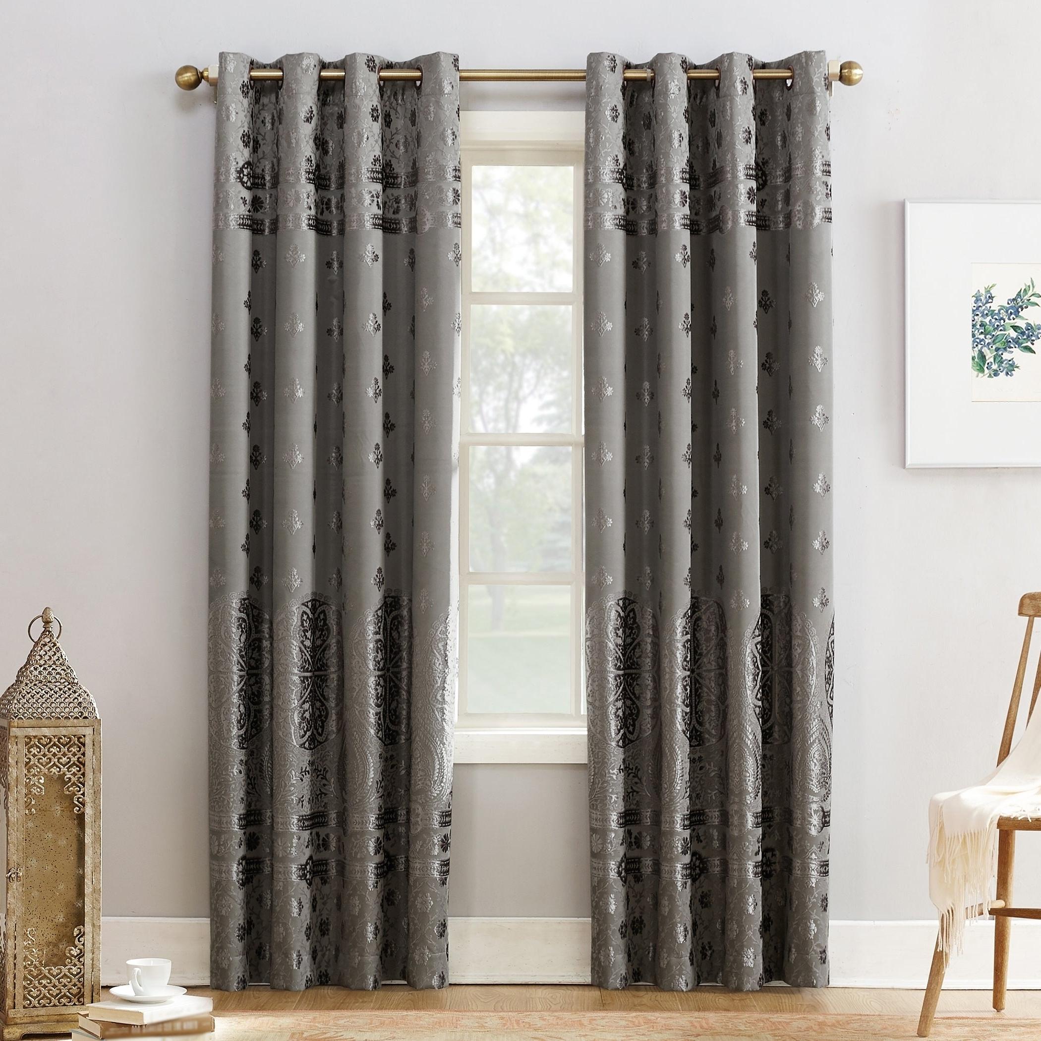Velvet Heavyweight Grommet Top Curtain Panel Pairs For Well Known Sun Zero Elidah Velvet Medallion Blackout Grommet Curtain Panel (View 14 of 20)