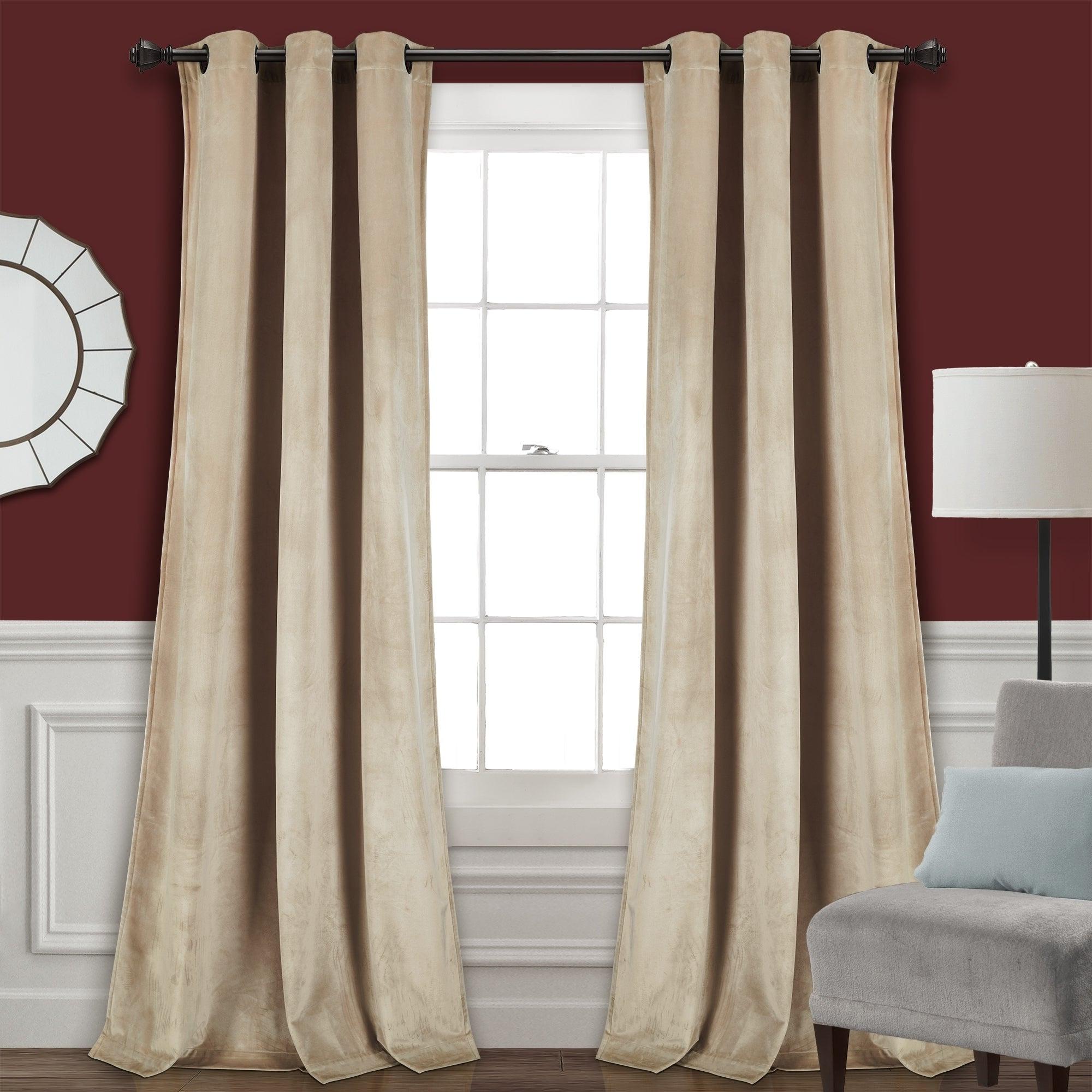 Featured Photo of Velvet Solid Room Darkening Window Curtain Panel Sets