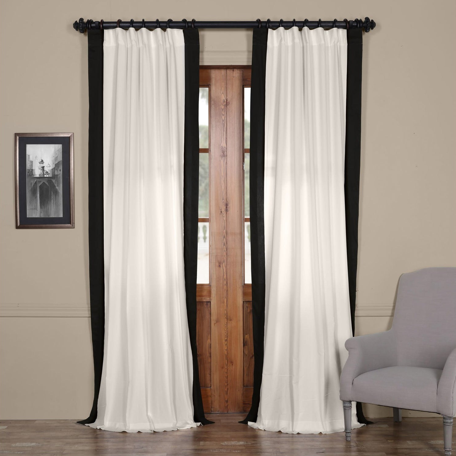 """Vertical Colorblock Panama Curtains Throughout Well Known Exclusive Fabrics Vertical Colorblock Panama Curtain 96"""" In Fresh Popcorn And Polo Navy (as Is Item) (View 5 of 20)"""