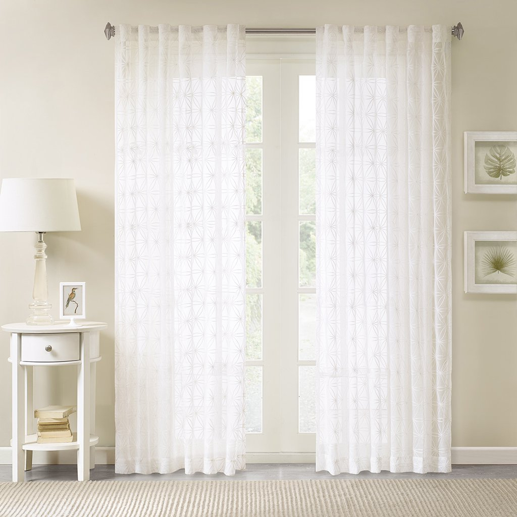 Vina Sheer Bird Single Curtain Panels For Widely Used Madison Park Gemma Sheer Embroidered Window Panel White 50x (View 14 of 20)