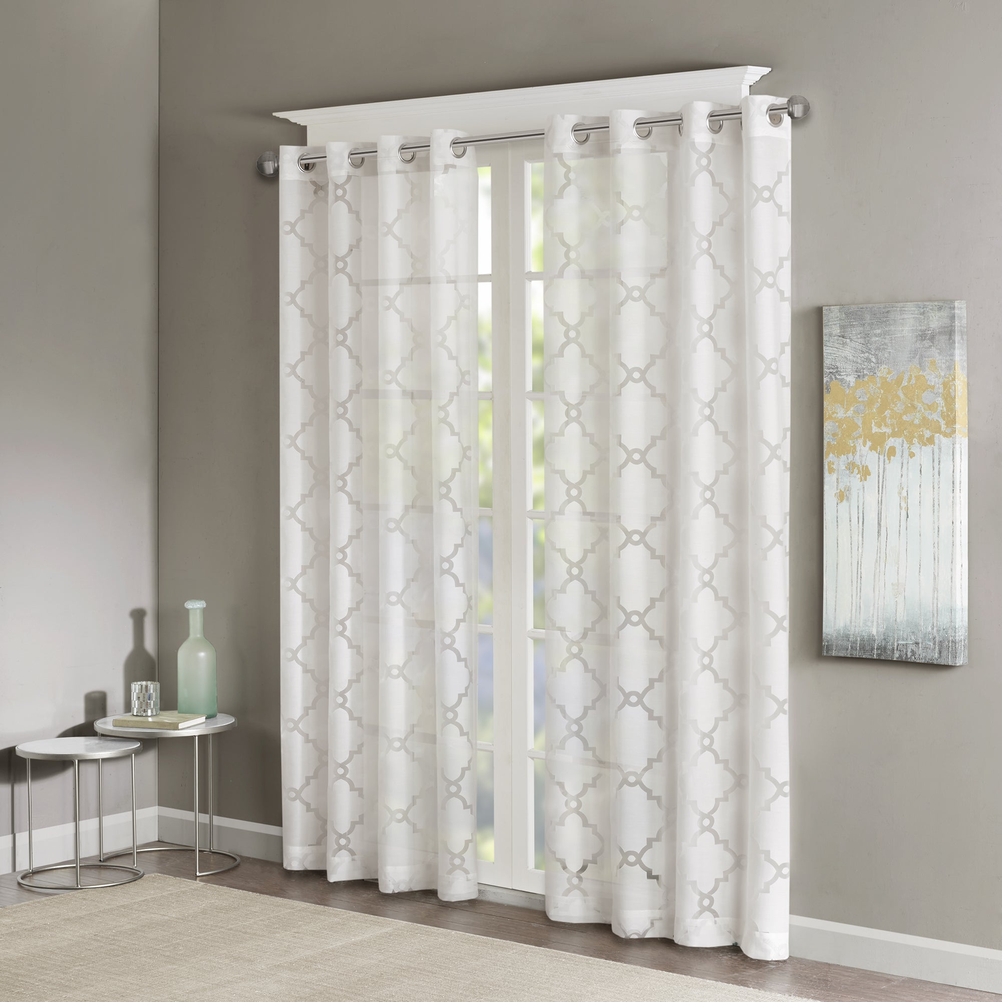 Vina Sheer Bird Single Curtain Panels Regarding Best And Newest Madison Park Laya Fretwork Burnout Sheer Curtain Panel (View 10 of 20)