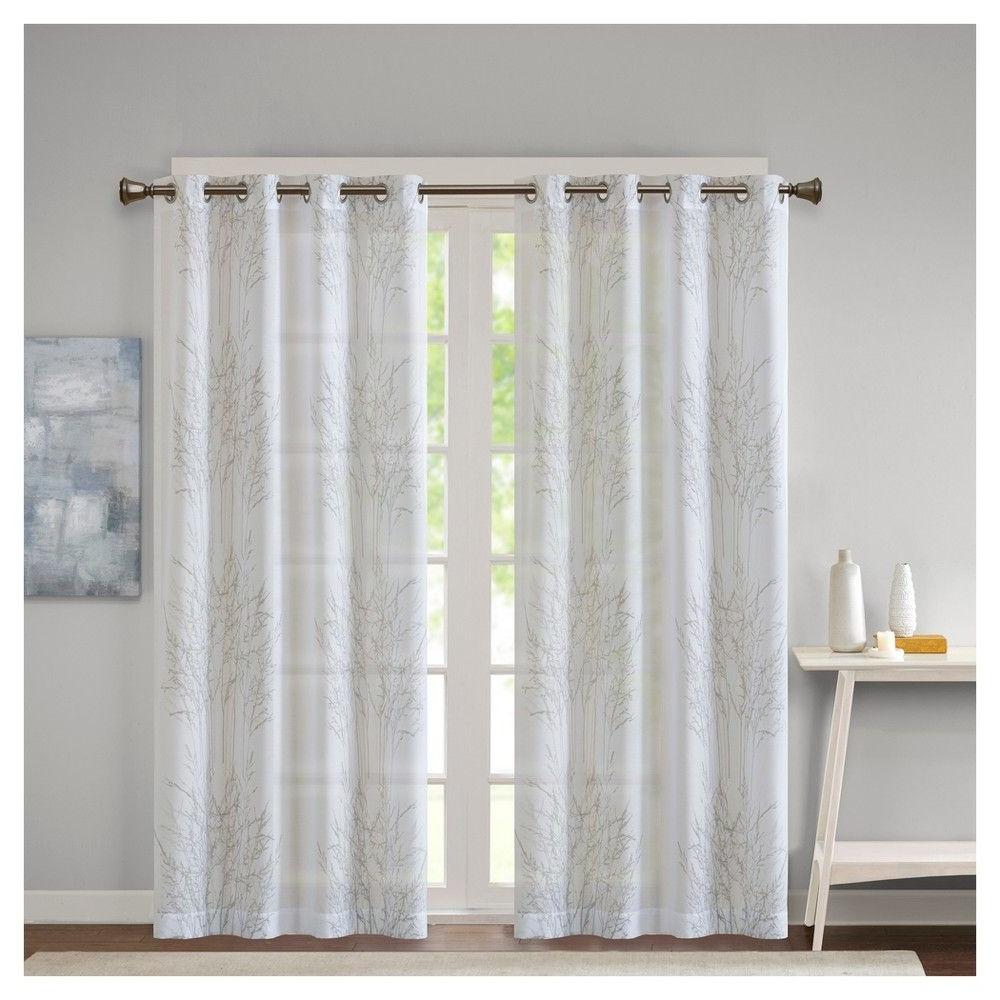 Vina Sheer Bird Single Curtain Panels Regarding Preferred Willow Burnout Sheer Window Panel – White – (50x84) – Jla (View 8 of 20)