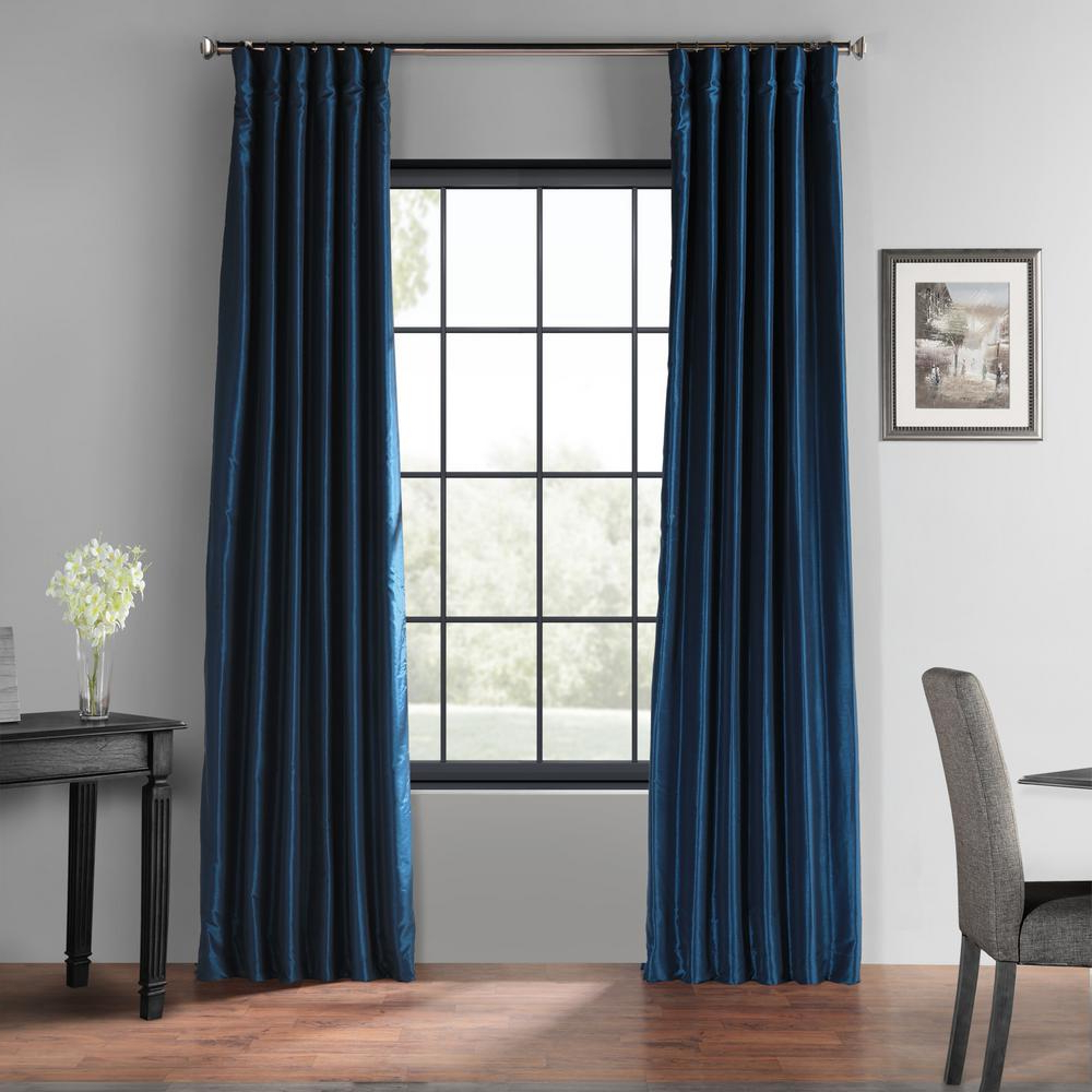 Vintage Faux Textured Dupioni Silk Curtain Panels In Widely Used Exclusive Fabrics & Furnishings Captain's Blue Blackout Vintage Textured Faux Dupioni Silk Curtain – 50 In. W X 120 In (View 9 of 20)