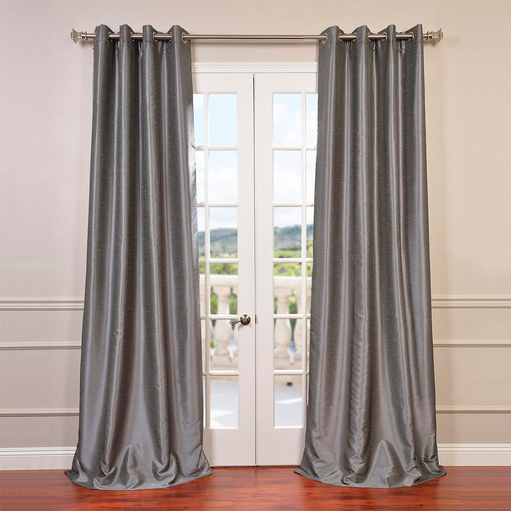Vintage Faux Textured Dupioni Silk Curtain Panels In Widely Used Exclusive Fabrics & Furnishings Storm Grey Gray Grommet Blackout Vintage Textured Faux Dupioni Silk Curtain – 50 In. W X 84 In (View 11 of 20)
