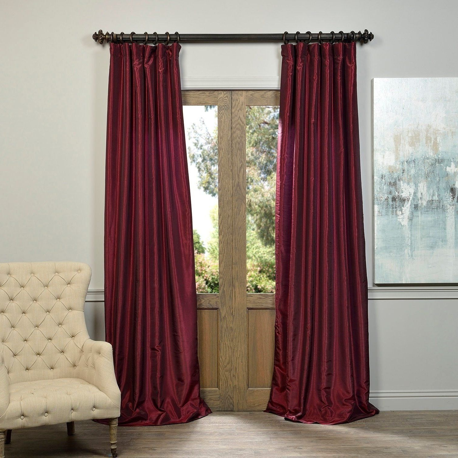 Vintage Textured Faux Dupioni Silk Curtain Panels Inside Fashionable 1 Piece 120 Inch Ruby Vintage Textured Faux Dupioni Silk (View 11 of 20)