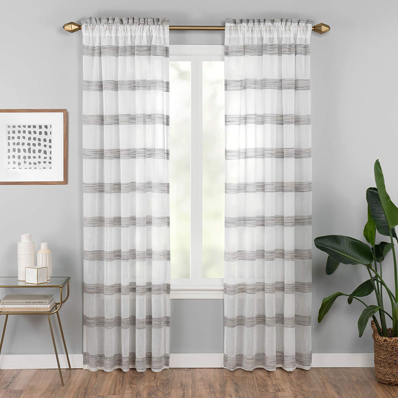 "Vue Sheer Bedroom Kyoto 52"" X 95"" Light Filtering Rod Pocket Single Window Panel Curtain Living Room, Black With Regard To Recent Light Filtering Sheer Single Curtain Panels (View 20 of 20)"