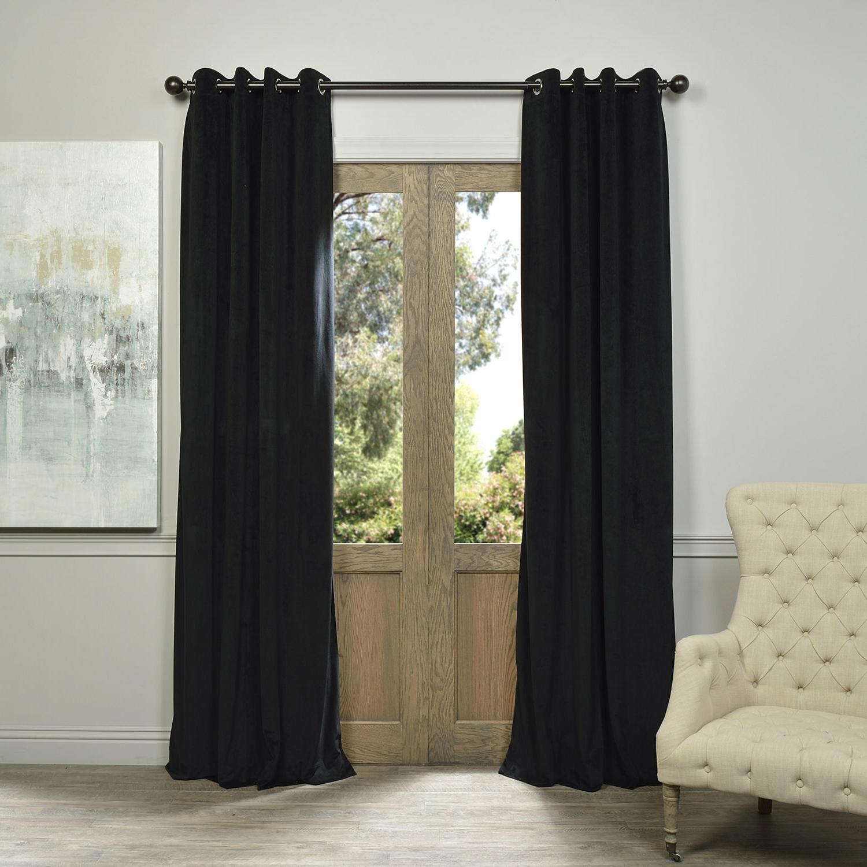 Warm Black Velvet Single Blackout Curtain Panels Inside Latest Sharpe Solid Velvet Blackout Grommet Single Curtain Panel (View 8 of 20)