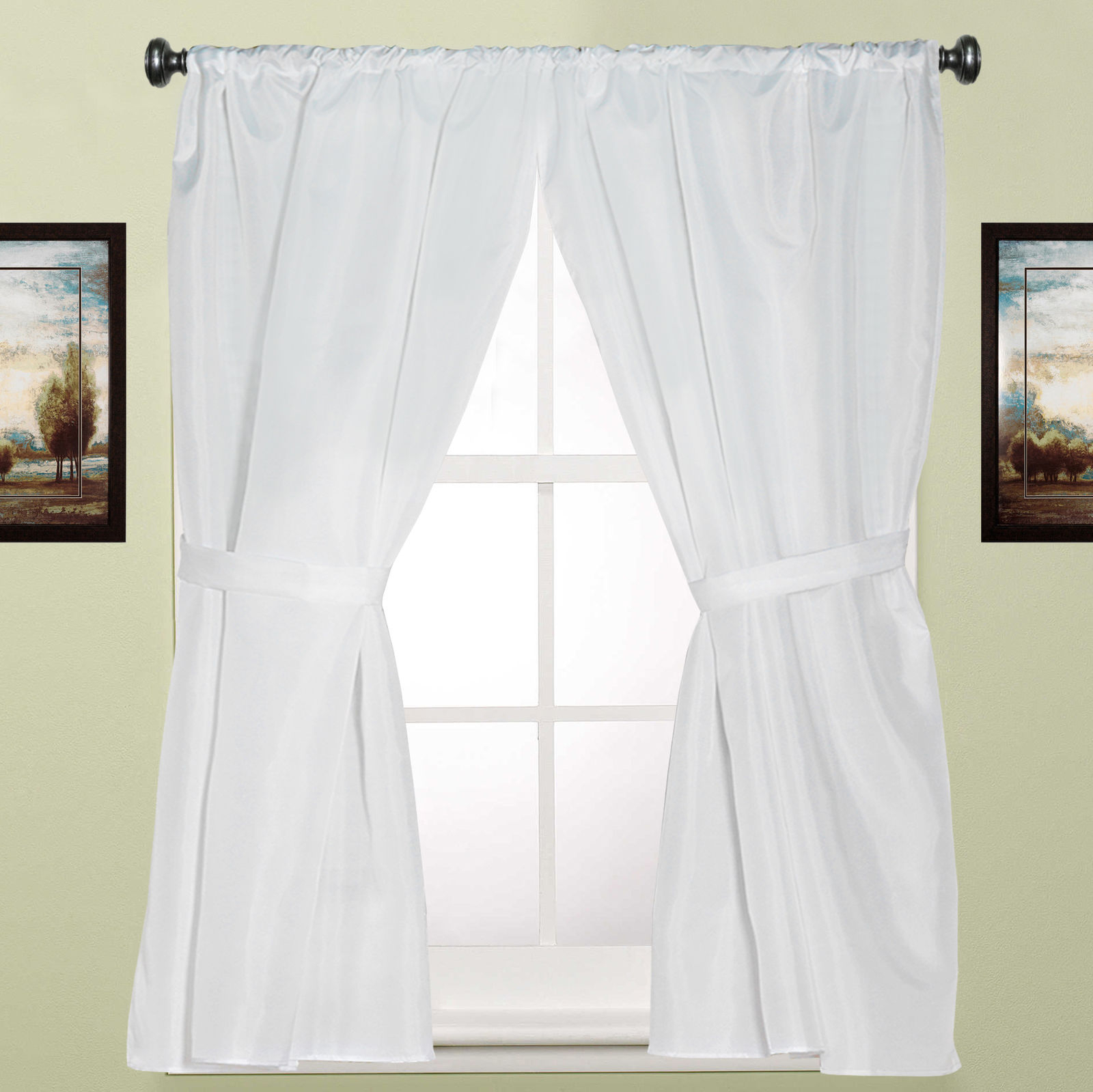 """Water Resistant White Fabric Bathroom Window Curtain Pair W/ Tiebacks 36"""" X  54"""" Inside Current Classic Hotel Quality Water Resistant Fabric Curtains Set With Tiebacks (View 18 of 20)"""