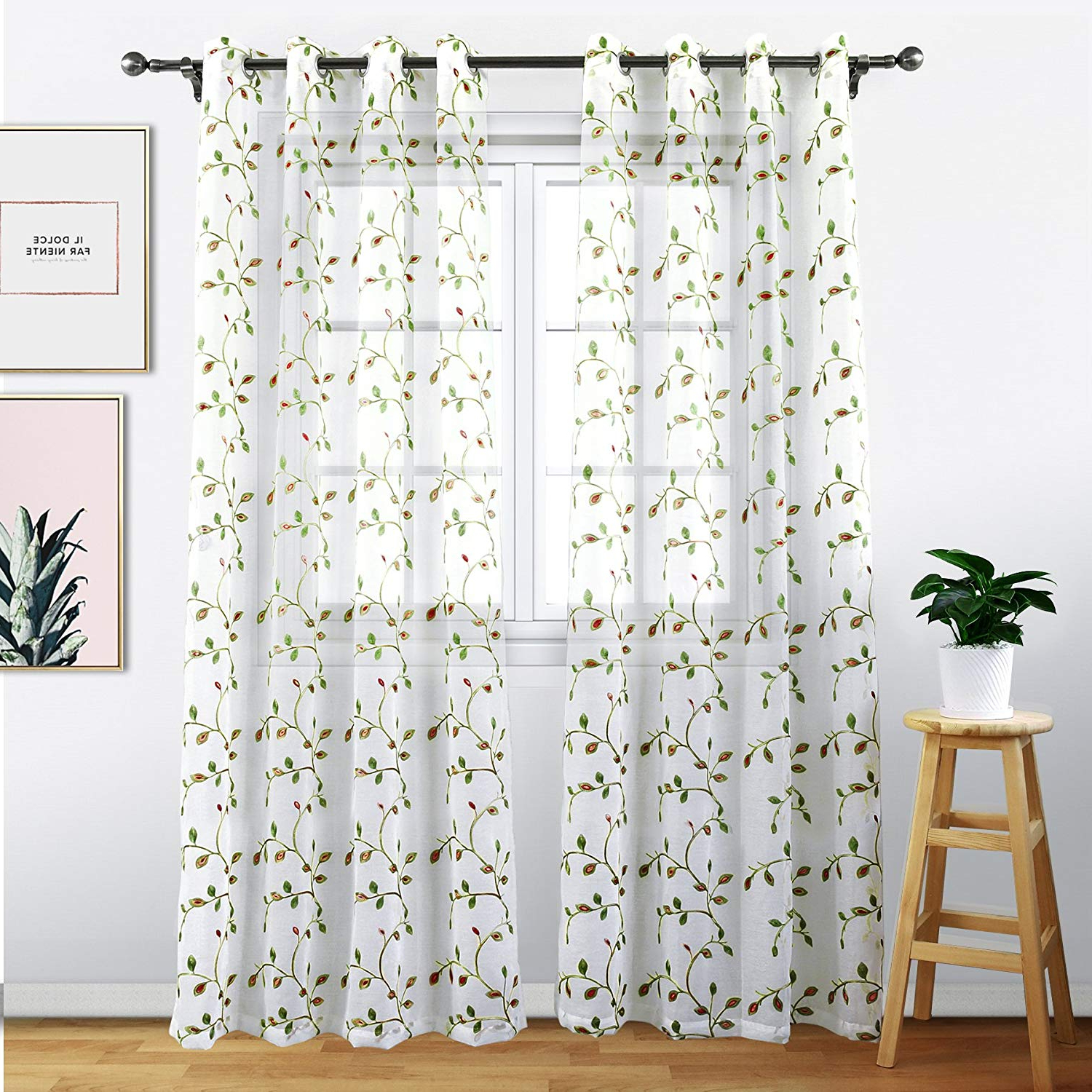 Wavy Leaves Embroidered Sheer Extra Wide Grommet Curtain Panels Inside 2020 Eamior Sheer Window Panels Voile Curtains – High Thread Sheer Voile Curtain  Panels With Grommet Top For Living Room (2 Panels, 54 Wide X 95 Inches (View 18 of 20)