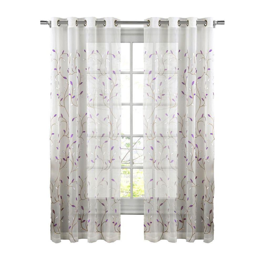 Wavy Leaves Embroidered Sheer Extra Wide Grommet Curtain Panels Pertaining To 2021 Window Elements Sheer Wavy Leaves Embroidered Sheer Lilac Grommet Extra  Wide Curtain Panel, 54 In. W X 84 In (View 4 of 20)