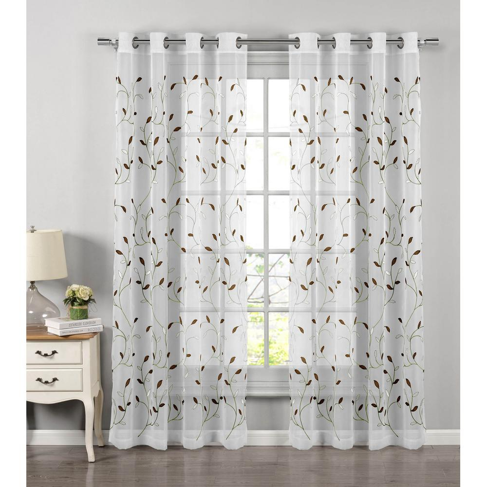 Wavy Leaves Embroidered Sheer Extra Wide Grommet Curtain Panels Regarding Best And Newest Window Elements Sheer Wavy Leaves Embroidered Sheer Sage Grommet Extra Wide  Curtain Panel, 54 In. W X 84 In (View 1 of 20)