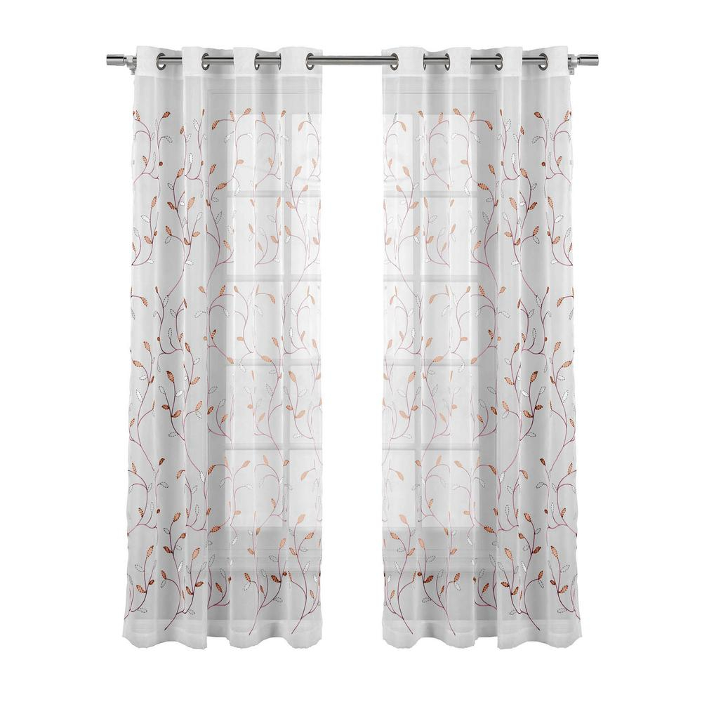 Wavy Leaves Embroidered Sheer Extra Wide Grommet Curtain Panels Throughout Fashionable Window Elements Sheer Wavy Leaves Embroidered Sheer Coral Grommet Extra  Wide Curtain Panel, 54 In. W X 84 In (View 5 of 20)