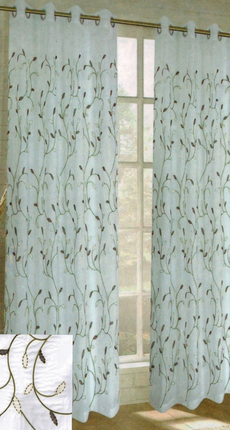 Wavy Leaves Embroidered Sheer Extra Wide Grommet Curtain Panels With Popular Amazon – Window Elements Wavy Leaves Embroidered Sheer (View 7 of 20)