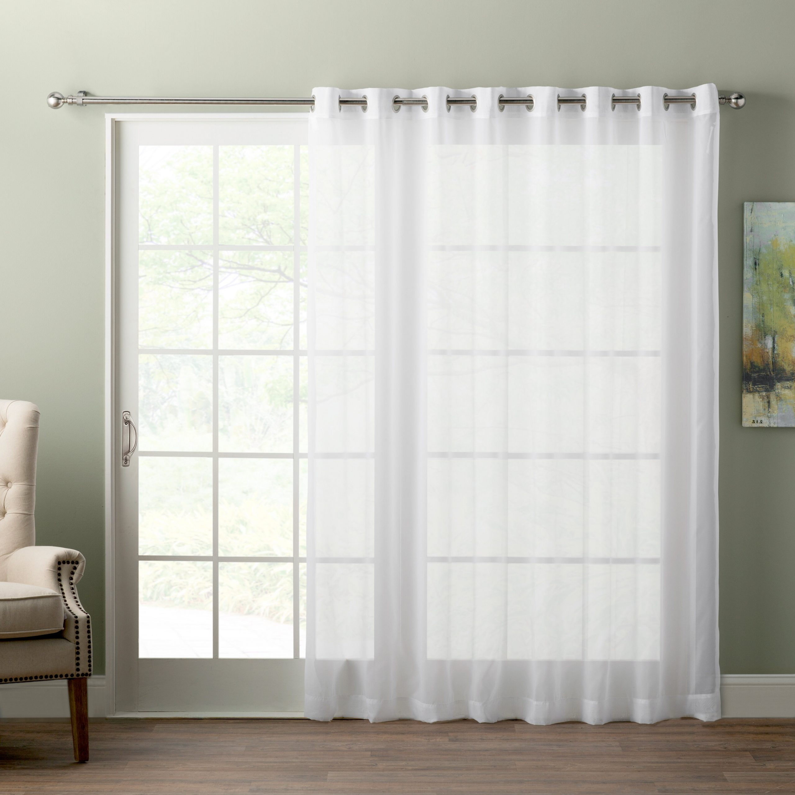 Wayfair Basics Sliding Door Patio Solid Sheer Grommet Single Intended For Widely Used Patio Grommet Top Single Curtain Panels (View 8 of 20)