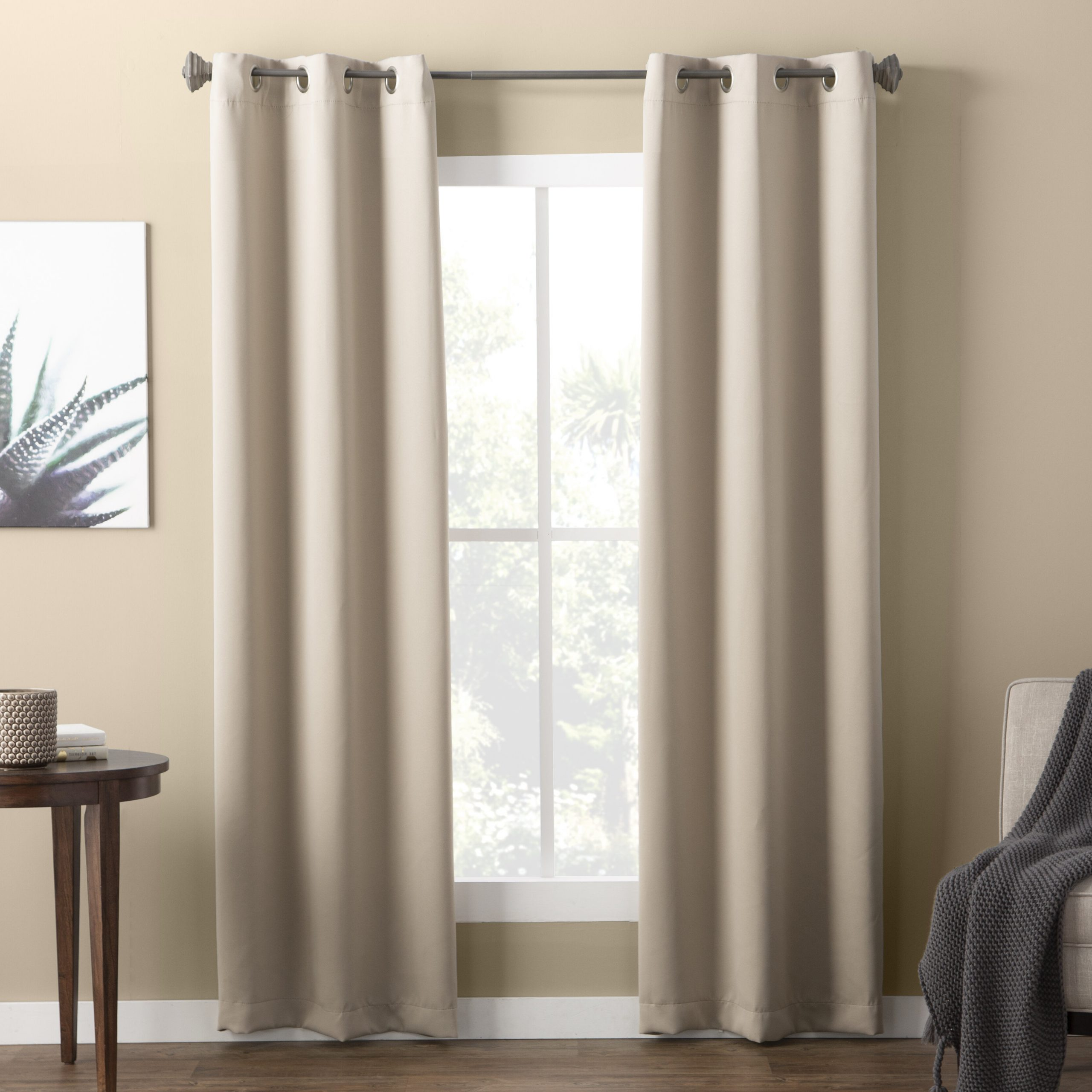 Wayfair Basics Solid Blackout Grommet Single Curtain Panel With Recent Warm Black Velvet Single Blackout Curtain Panels (View 13 of 20)