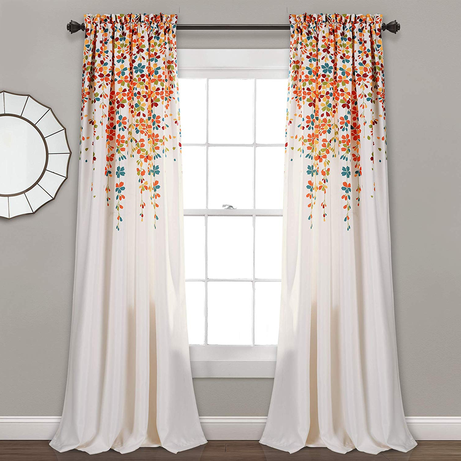 "Weeping Flowers Room Darkening Curtain Panel Pairs Inside Favorite Lush Decor Weeping Flowers Room Darkening Window Panel Curtain Set (pair), 84"" X 52"", Turquoise And Tangerine (View 3 of 20)"