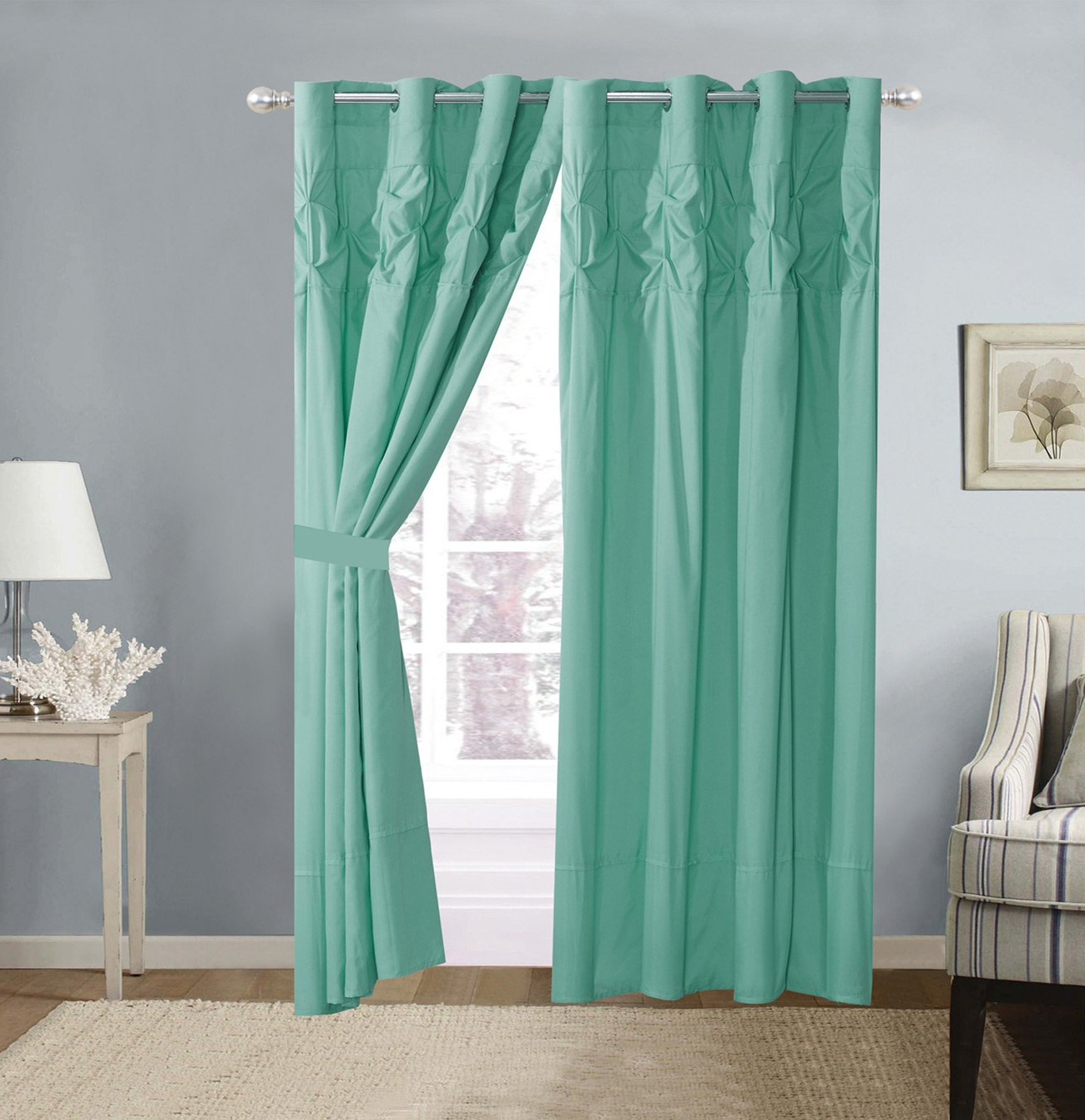 Well Known 4 Piece Solid Turquoise Blue Double Needle Stitch Pinch Throughout Elrene Versailles Pleated Blackout Curtain Panels (View 15 of 20)