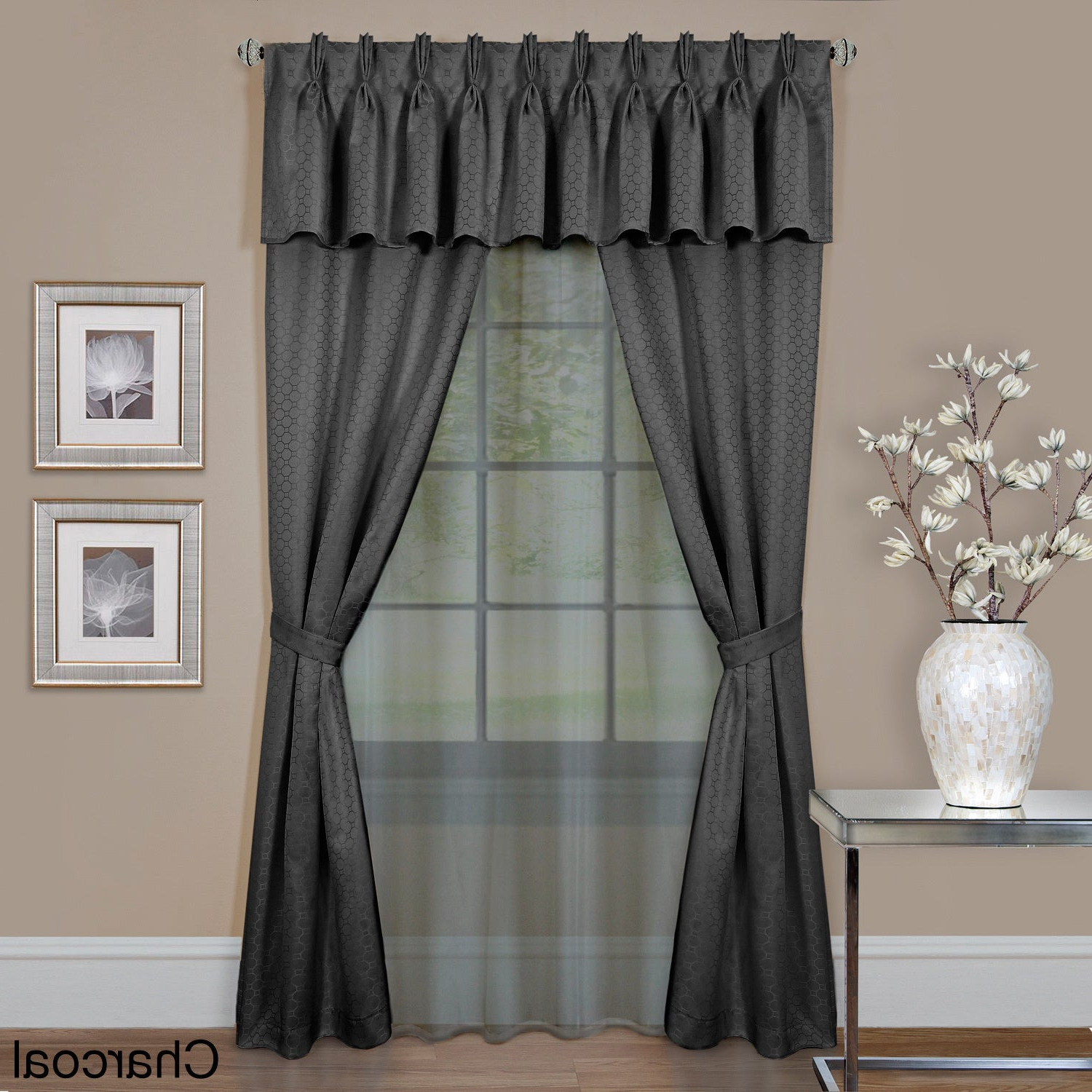 Well Known Achim Claire 6 Piece Window Curtain Set Regarding Luxury Collection Summit Sheer Curtain Panel Pairs (View 2 of 20)