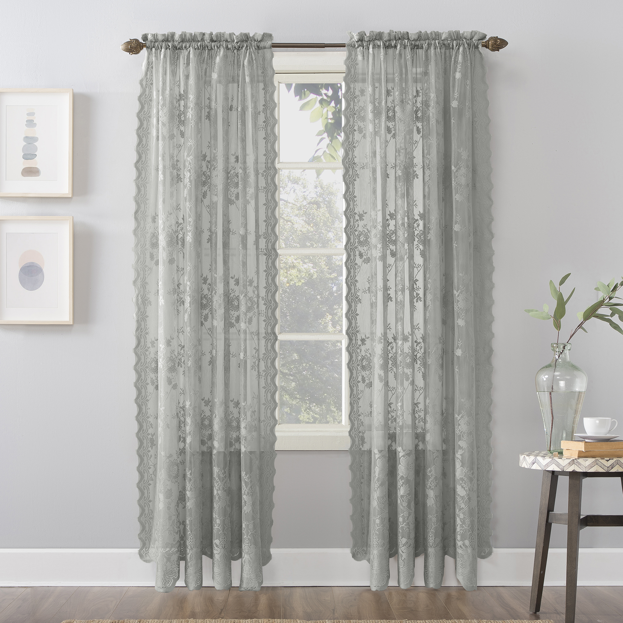 Well Known Alison Rod Pocket Lace Window Curtain Panels Intended For No (View 20 of 20)