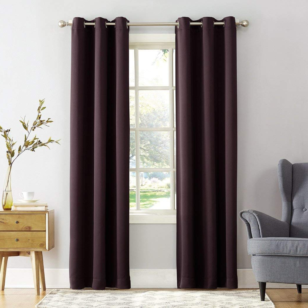 Well Known Amazon: Osd 1Pc Black Berry Faux Silk Taffeta Window With Faux Silk Taffeta Solid Blackout Single Curtain Panels (View 19 of 20)