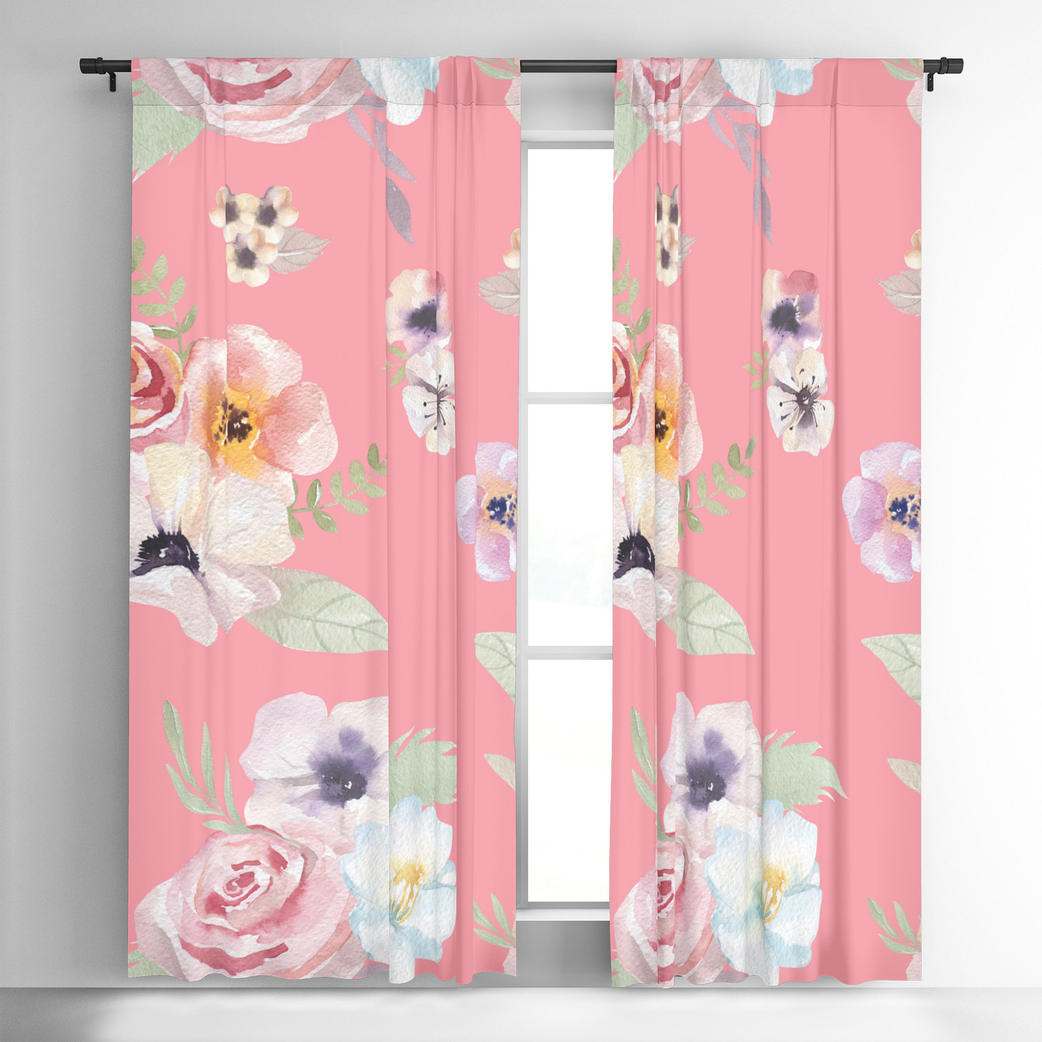 Well Known Andorra Watercolor Floral Textured Sheer Single Curtain Panels Inside Window Curtains – Watercolor Floral I – Bright Pink – 50 X 84 Or (View 18 of 20)