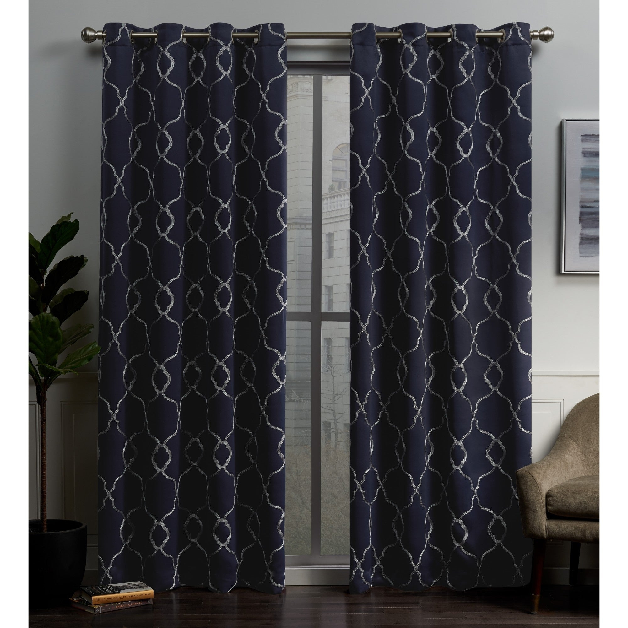 Well Known Ati Home Belmont Woven Blackout Grommet Top Curtain Panel Pair Within Sateen Woven Blackout Curtain Panel Pairs With Pinch Pleat Top (View 8 of 20)