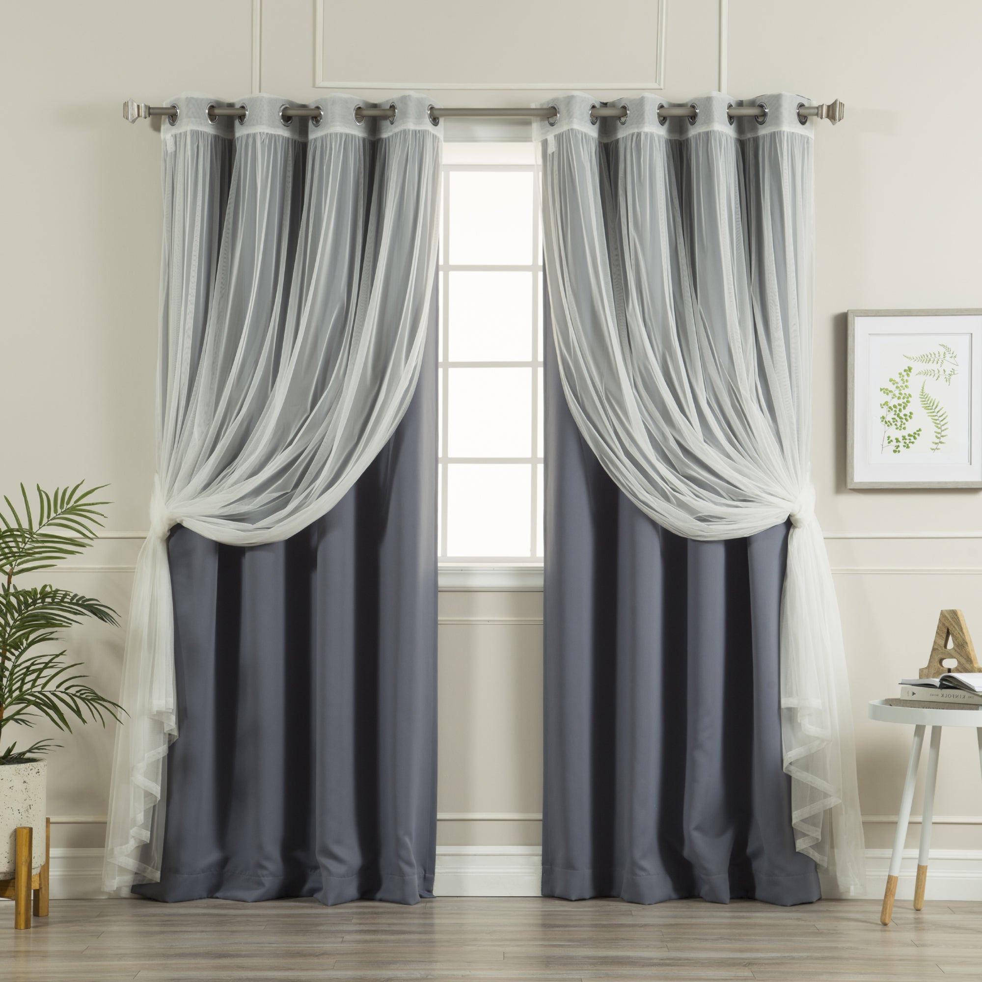 Well Known Aurora Home Mix And Match Blackout Tulle Lace Sheer 4 Piece Curtain Panel Set With Regard To Mix And Match Blackout Tulle Lace Sheer Curtain Panel Sets (View 3 of 20)