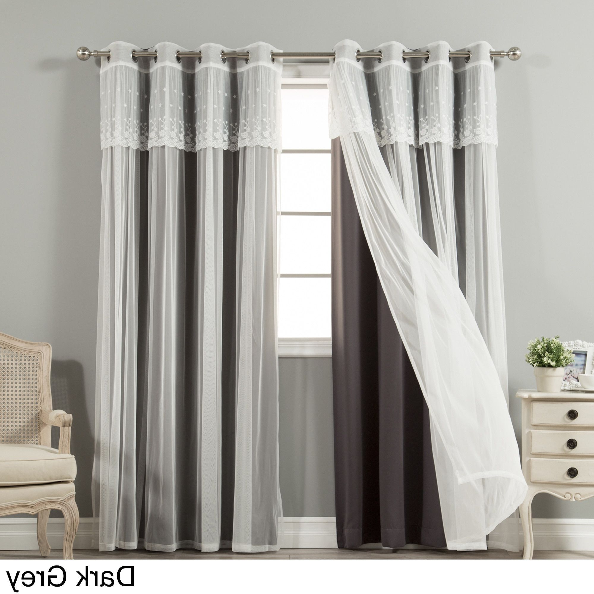 Well Known Aurora Home Mix & Match Tulle Sheer With Attached Valance Inside Tulle Sheer With Attached Valance And Blackout 4 Piece Curtain Panel Pairs (View 2 of 20)