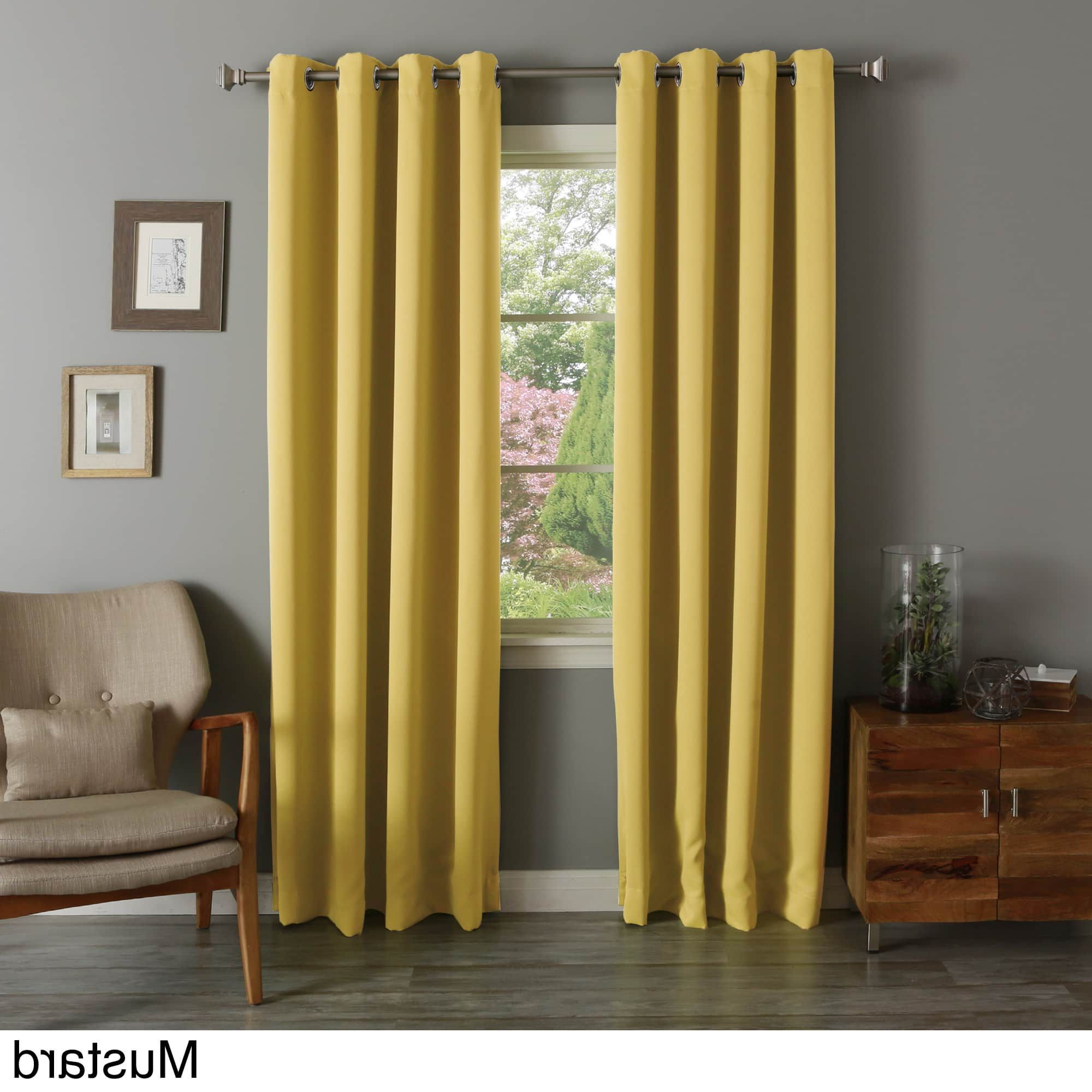 Well Known Aurora Home Silvertone Grommet Top Thermal Insulated Regarding Silvertone Grommet Thermal Insulated Blackout Curtain Panel Pairs (View 5 of 20)
