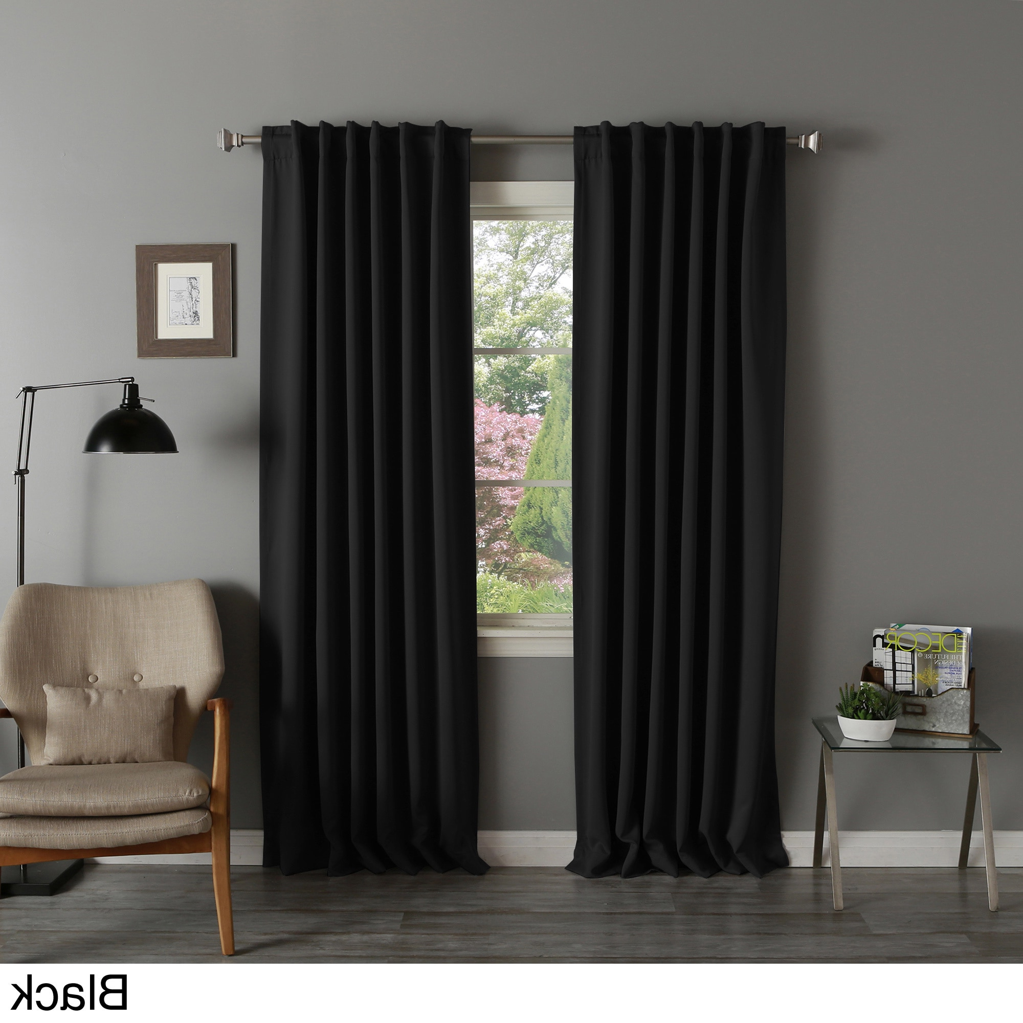 Well Known Aurora Home Solid Insulated Thermal Blackout Curtain Panel Inside Solid Insulated Thermal Blackout Curtain Panel Pairs (View 18 of 20)
