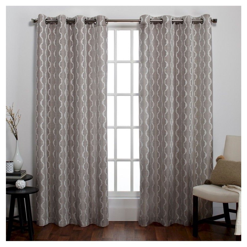 """Well Known Baroque Linen Grommet Top Curtain Panel Pairs Intended For 54""""x108"""" Baroque Textured Room Darkening Linen Window (View 13 of 20)"""