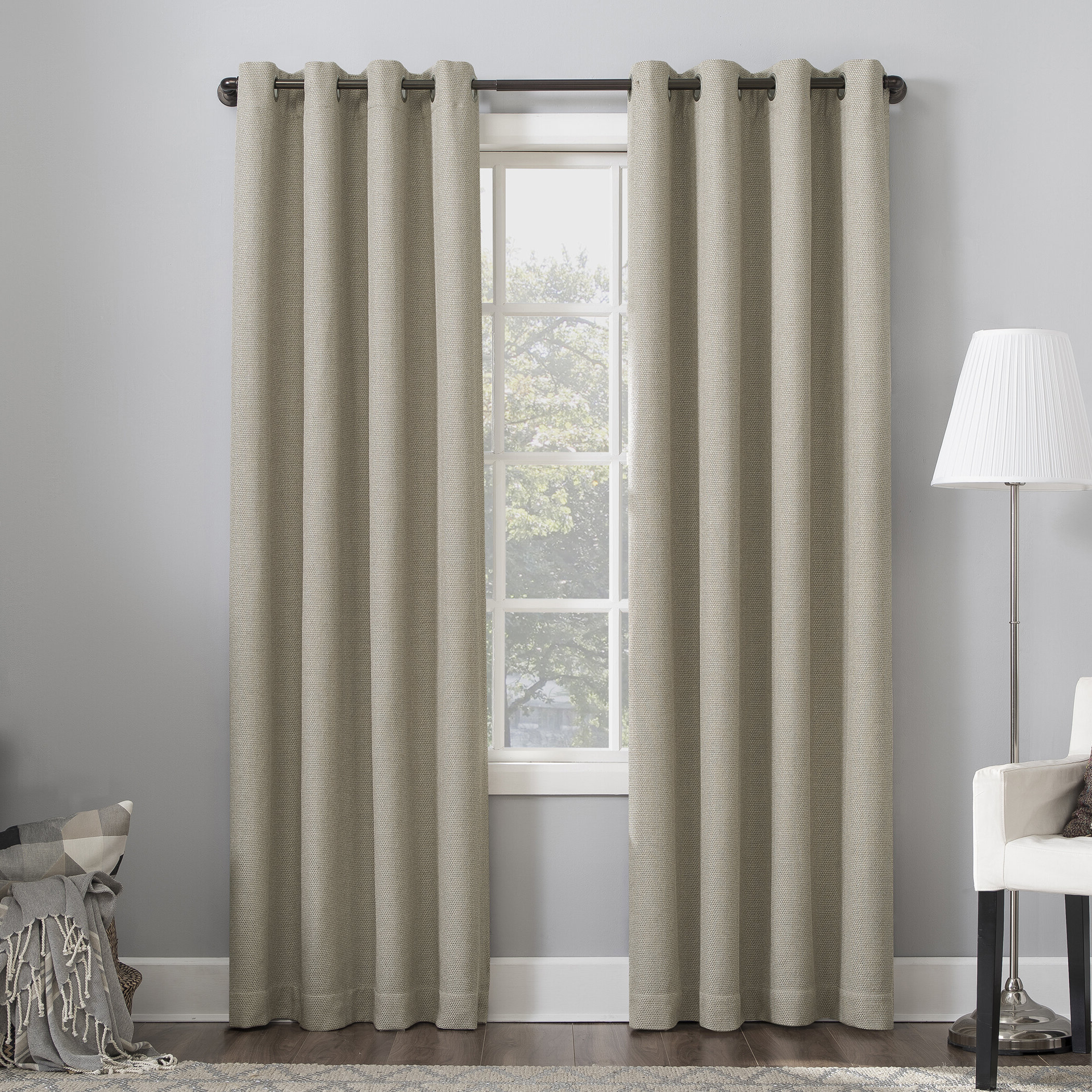 Well Known Baxter Home Theater Grade Extreme Solid Max Blackout Thermal Grommet Single Curtain Panel Pertaining To Single Curtain Panels (View 6 of 20)