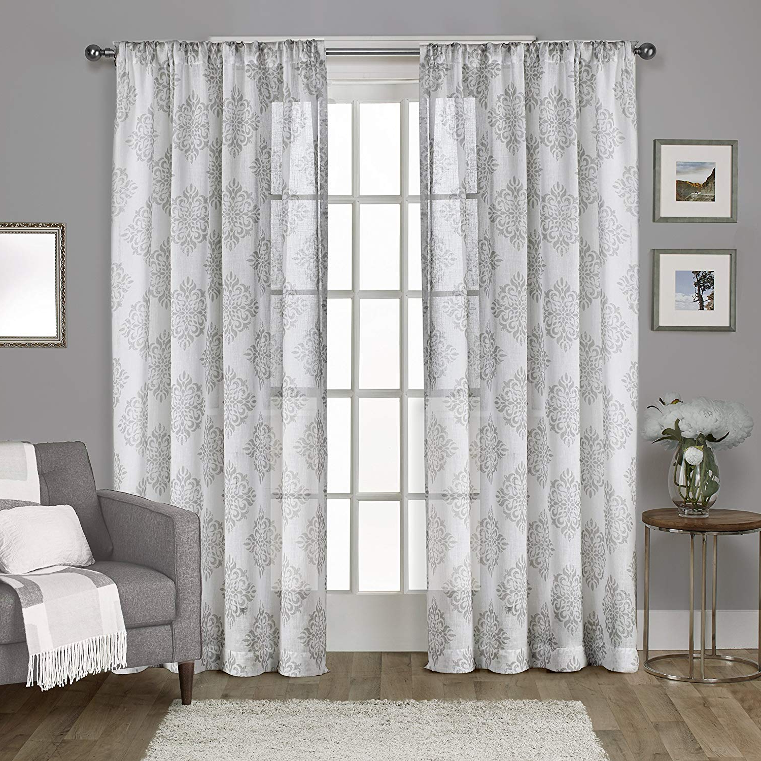 Well Known Belgian Sheer Window Curtain Panel Pairs With Rod Pocket Throughout Exclusive Home Curtains Nagano Medallion Belgian Linen Window Curtain Panel  Pair With Rod Pocket, 54X84, Dove Grey, 2 Piece (View 17 of 20)