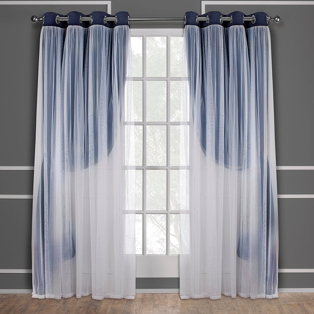 Well Known Catarina Layered Curtain Panel Pairs With Grommet Top With Ati Home Catarina Layered Blackout And Sheer Curtain Panel Pair W/ Grommet Top (as Is Item) (View 9 of 20)