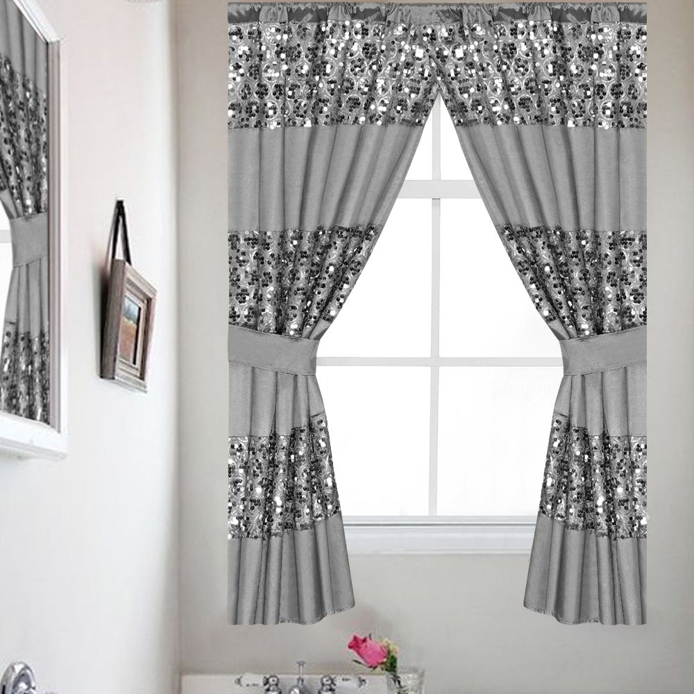 Well Known Classic Hotel Quality Water Resistant Fabric Curtains Set With Tiebacks In Luxury Bath Collection Window Curtain Set With Tiebacks (View 6 of 20)