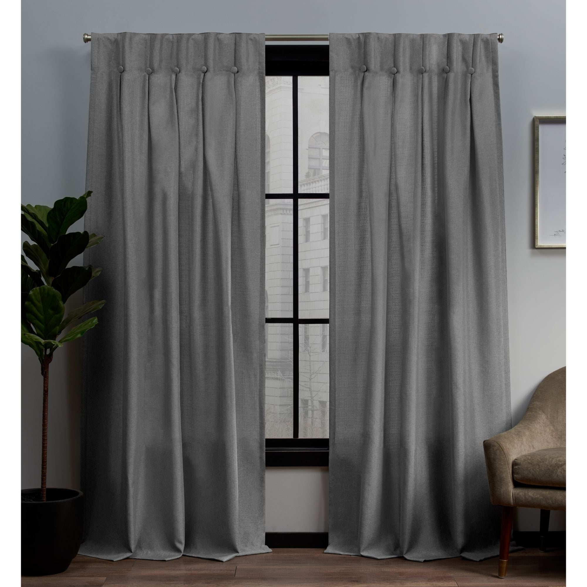 Well Known Copper Grove Fulgence Faux Silk Grommet Top Panel Curtains For Details About Copper Grove Popovo Linen Button Top Window Curtain Panel (View 14 of 20)