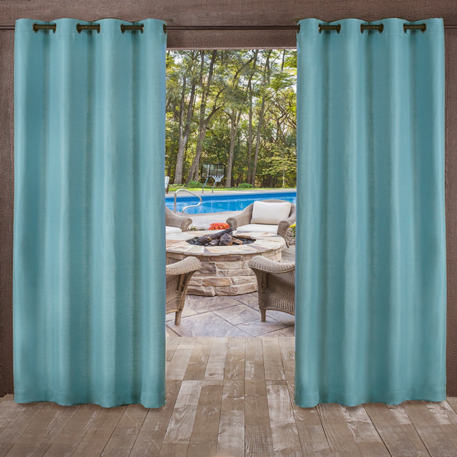 Well Known Delano Indoor/outdoor Grommet Top Curtain Panel Pairs Pertaining To Exclusive Home Delano Heavyweight Textured Indoor/outdoor (View 8 of 20)