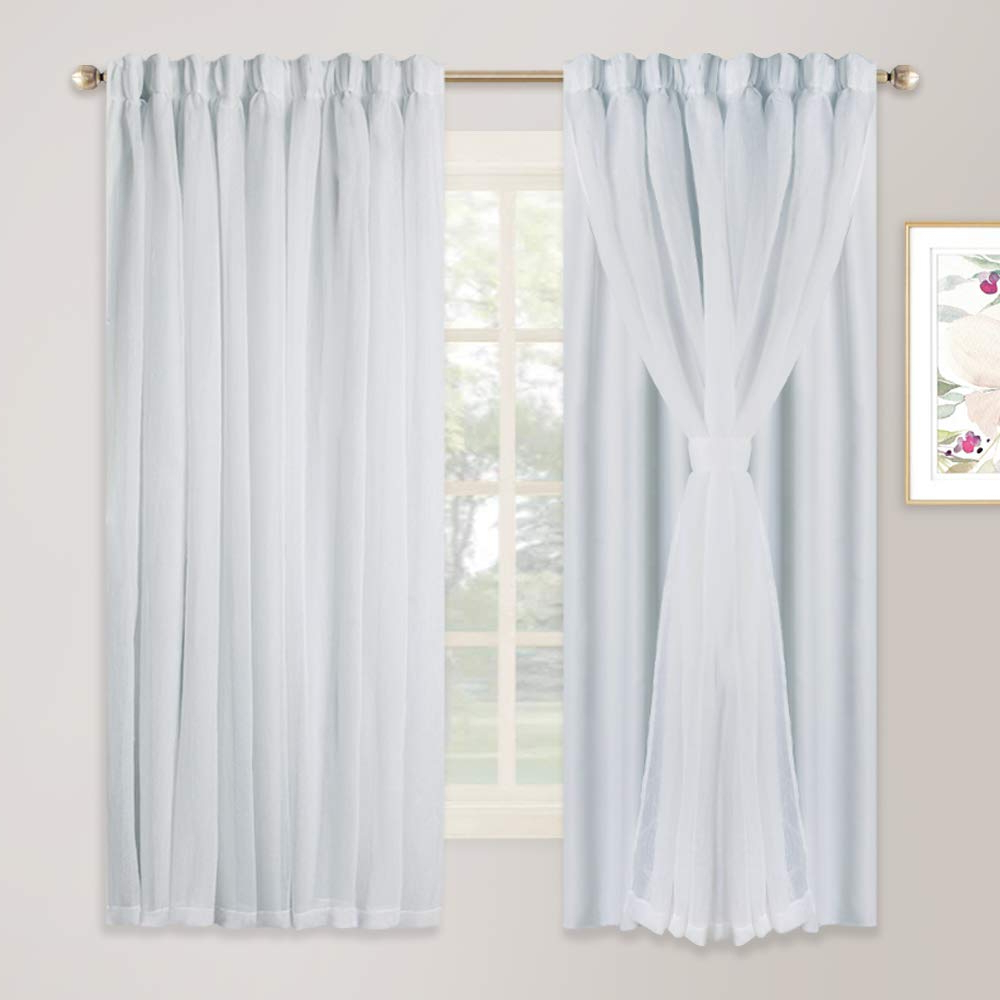 Well Known Double Layer Sheer White Single Curtain Panels With Regard To Nicetown Double Layers Light Blocking Mix & Match Elegance (View 18 of 20)