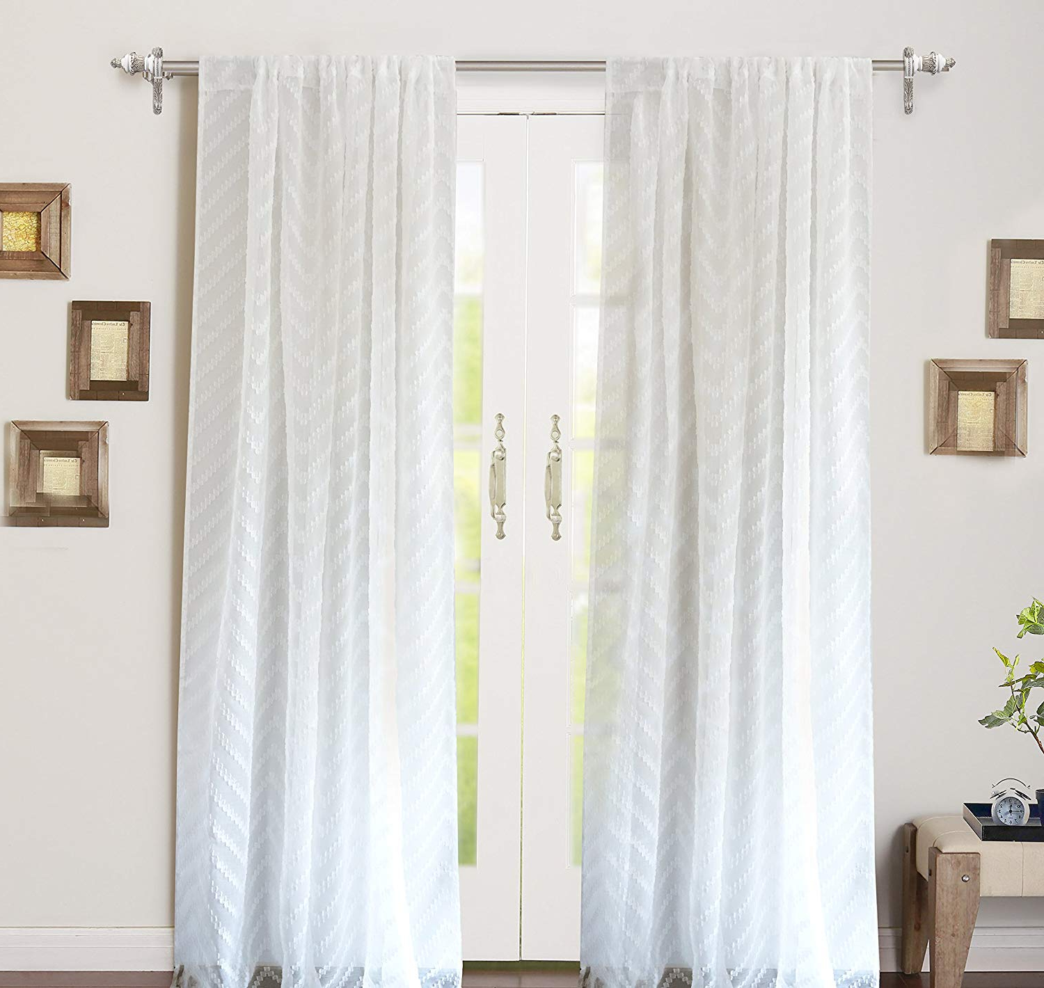 "Well Known Driftaway Hayden Chevron White Voile Sheer Window Curtains Set Of Two Panels, Rod Pocket, Each 52""X84"" (Off White) Intended For Hayden Rod Pocket Blackout Panels (View 10 of 20)"