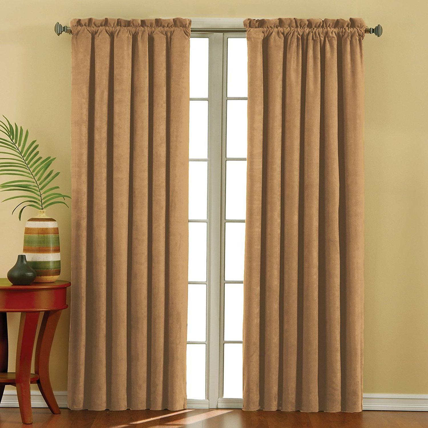 Well Known Eclipse Corinne Thermaback Curtain Panels In Eclipse 10301042x063go Suede 42 Inch63 Inch Thermaback (View 18 of 20)
