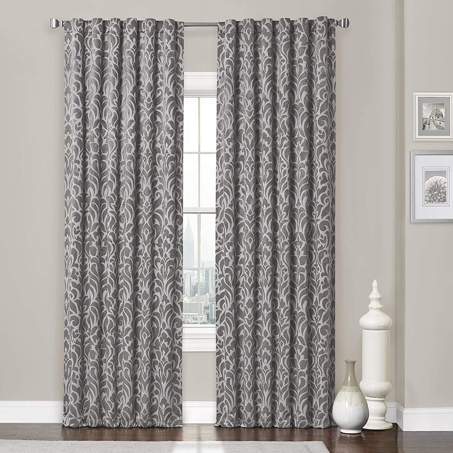 Well Known Eclipse Thermaweave Carven Blackout Window Curtain Panel, 52 X 63, Grey Pertaining To Thermaweave Blackout Curtains (View 19 of 20)
