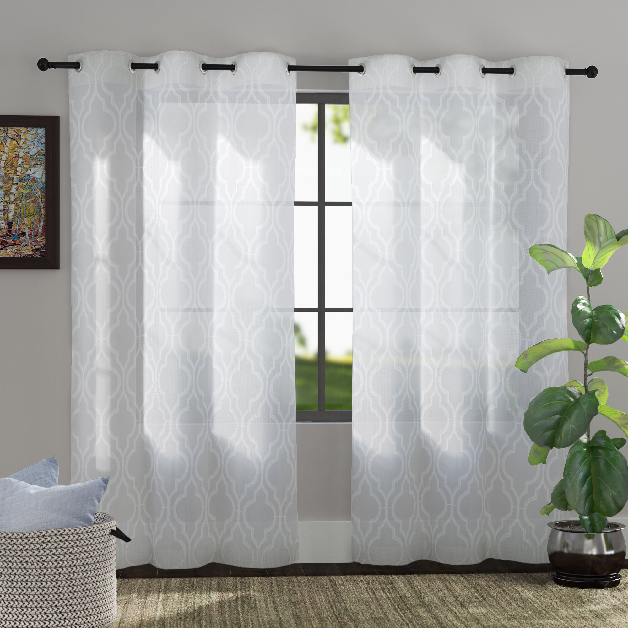 Well Known Edward Moroccan Pattern Room Darkening Curtain Panel Pairs Within Edward Trellis Curtains (View 13 of 20)
