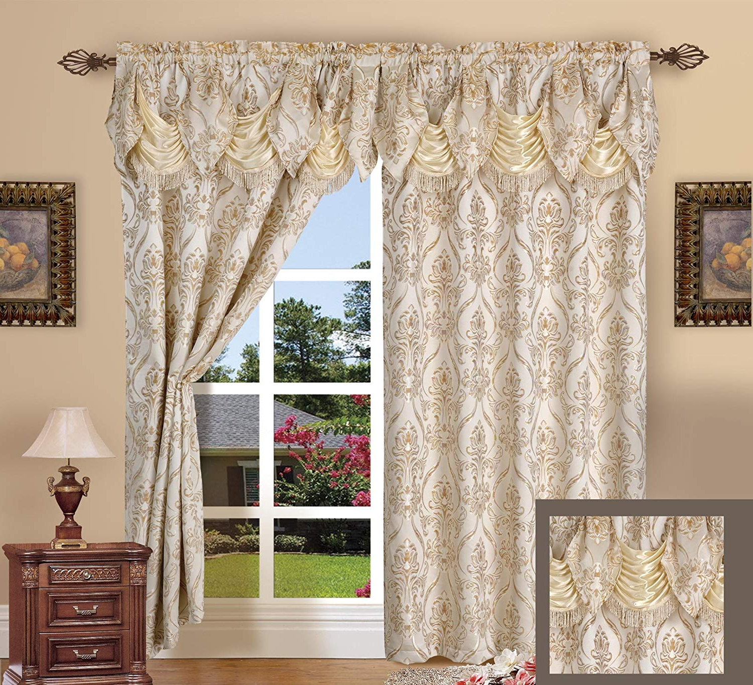 Well Known Elegant Comfort Penelopie Jacquard Look Curtain Panel Set With Attached Waterfall Valance, Set Of 2, 54x84 Inches, Beige With Elegant Comfort Window Sheer Curtain Panel Pairs (View 12 of 20)