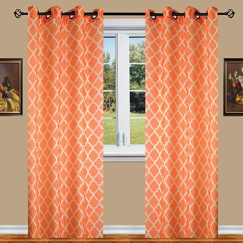 Well Known Elegant Comfort Window Sheer Curtain Panel Pairs In Orange Elegant Comfort Luxury Sheer Look Printed Grommet (View 11 of 20)
